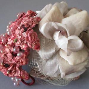 2 Vintage MILLINERY Ladies Hats w SILK Linen VELVET Flowers ROSE * Mr. John +