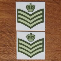 Two British Army Rank Colour Staff Sergeant CSgt SSgt C/Sgt Vinyl Sticker 5cm