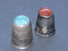 2x dedos sombreros Fingerhut 800 plata a partir de 1880 con farbstein