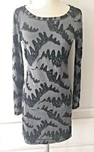 FRENCH CONNECTION DENIM 72 Metallic Silver Gray Black Stretch Bodycon Dress Sz 4