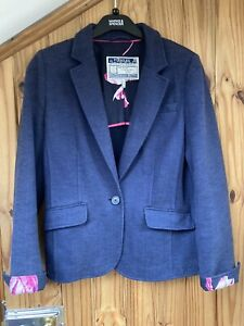 Ladies Joules Navy Olivia Blazer Jacket - Cotton Tweed size 12