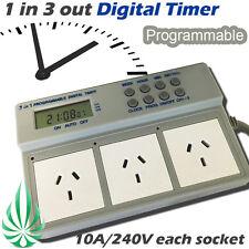 1 in 3 Out Programmable Digital Timer Box Aquarium Pump Grow Light Fans 3600W