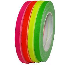 4er Set Neon Gaffa Tape 9mm x 25m  Gewebeband Klebeband UV-aktiv farbig sortiert