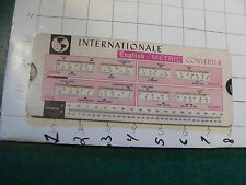 vintage  SLIDE RULE TYPE---international English/Metric converter, light wear