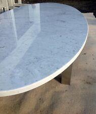 Tischplatte Natursteinplatte Steinplatte Marmor weiss oval Cararra Marmorplatte