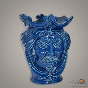 Testa di moro vaso Ceramica di Caltagirone uomo fatta a mano blu integrale h 25