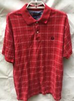 Chaps Short Sleeve Polo Mens Red with White and Blue Stripes Sz M Shirt