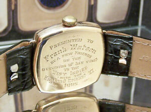1925 WALTHAM SOLID GOLD WATCH FRANK WATSON LANCS & ENGLAND CRICKET PRESENTAION