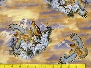 Great Snowy Mountain Hawks Quilting & Sewing Fabric by Yard  #988-2