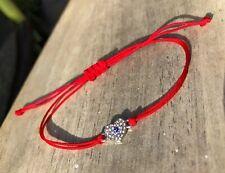 Silver Heart Blue Eye Red Thread Protection Evil Eye Handmade Bracelet