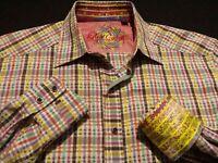 Robert Graham Mens Medium L/S Button-Front Multicolor Plaid Flip Cuff Shirt