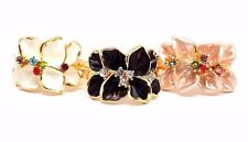 Women's Korean Style Gold Enamel Flower Crystal Ring, Gift Boxed!