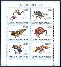 Comoro Islands - 2009 s/s of 6 Beetles #1077 cv $ 11.50 Lot # 85