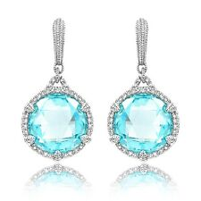 NEW Judith Ripka Round Sky Blue Crystal Earrings with Micro Pave White Sapphire