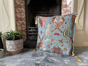 Pale Blue Tulip Patterned Chenille Cushion Cover, Boho Throw Pillow, 40x40cm