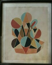 Tableau geometrique gouache abstrait constructivisme inscription à identifier