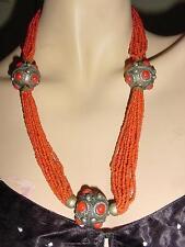 VTG Coral Glass Silver Necklace Multi Strand Moroccan Berber Tribal #1468