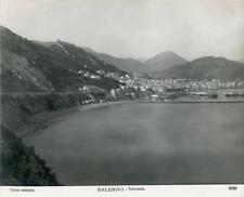 Italie, Salerne, Salerno, panorama  Vintage print, Photomécanique  19x24