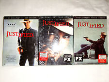 Justified Seasons 1-3, 1 2 3, One Two Three, Dvd, FX, New & Sealed w/Slipcovers!