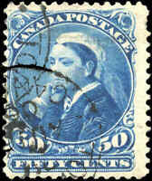1893 Used Canada 50c F Scott #47 Small Queen Stamp
