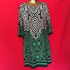Donna Ricco Women Dress 6 S Black White Green Stretch Career Cocktail Party 1A85
