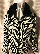 Jacket Zebra Print Faux Fur Collar Vintage Retro Size Medium by Carrie Allen