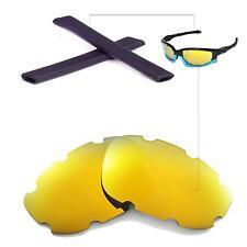 New WL Polarized 24K Gold Vented Lenses+Black Earsocks for Oakley Split Jacket