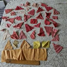 Lot of 45 Pieces Of Antique 19th American Quilting Fabrics~Double Pinks, Yellows