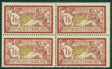 EDW1949SELL : FRANCE 1900 Scott #125 Block of 4 PO Fresh. Bottom 2 stamps NH.