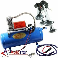 4 Trumpet Air Horn 12 Volt Compressor 1ft Hose 150 dB Train 120 PSI Kit Truck