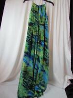 Cynthia Rowley Sleeveless Maxi Dress Blue Green Yellow Sz 8