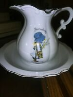 Vintage Holly Hobbie Porcelain Water Pitcher & Bowl Both 1973 Made in Japan