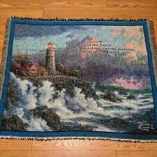 New ListingThomas Kinkade Woven Throw Blanket 56 x 46 Lighthouse Lord Refuge Psalm 91:2