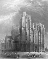 Somerset, Gothic WELLS CATHEDRAL CHURCH ~ 1838 Architecture Art Print Engraving