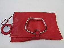 Balenciaga Paris Red  Leather Clutch Bag with Mirror inside Authentic