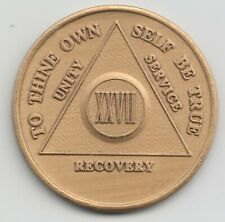 27 Years - XXVII Years - Alcoholics Anonymous AA recovery medal token chip coin