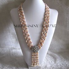 "27-31"" 5-6mm White Pink Lavender 4Row Freshwater Pearl Necklace With Tassel A-20"