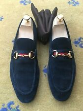 Gucci Mens Shoes Blue Suede Web Horsebit Loafers UK 7 US 8 EU 41 Red