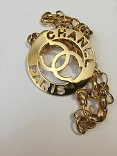 Rare Vintage Massive Chanel Paris Logo Pendant Chain Necklace Belt