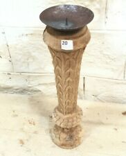 Antique Indian Pillar Bleached Wood Carved Vintage Candle stand holder Raw H