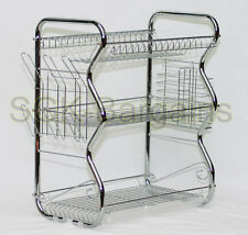 CHROME Large 3 Tier Chrome Dish Drainer Drip Tray Glass Plates Rack Kitchen 392