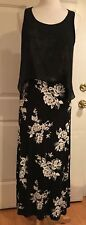 Kensie Maxi Dress Floral Print Sleeveless Black White S NWOT