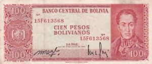 1962 Bolivia 100 Bolivianos Note, Pick 163a