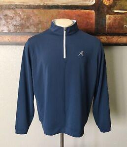 Peter Millar Crown Sport Men's Pullover Golf Sweater Sz XL Stretch 1/4 Zip Blue.