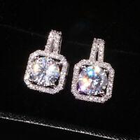 Elegant 925 Silver Stud Earrings for Women White Sapphire Jewelry A Pair/set