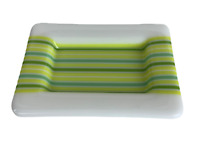Rectangular Opaque Plate Fused Studio Art Glass Jewelry /Serving Tray Green