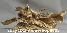"""10.4"""" Chinese Bronze Guangong Guan Gong Yu Warrior God Dragon Sword Sculpture"""