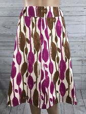 Worthington Flared Skirt Size 10 Abstract Floral Design Magenta Pink Brown White