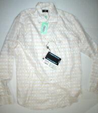 New Mens NWT Designer Paul Shark Button Down Shirt 43 XL White Blue Orange Italy