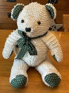 """Adorable Handmade Bear Stuffed Plus Toy 17"""" Beige and green"""